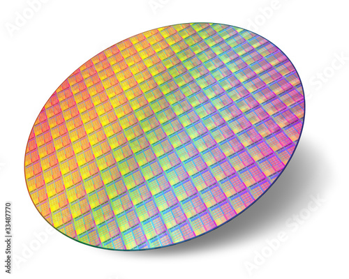 Leinwanddruck Bild Silicon wafer with processor cores
