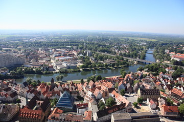 Ulm skyline and river Danube, Germany