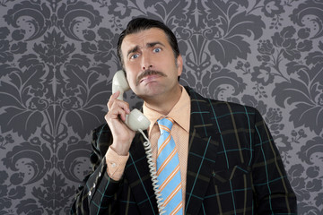 Nerd scared expression businessman telephone call