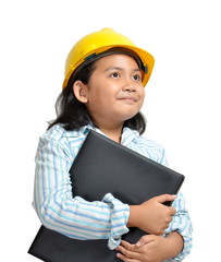 beautiful asian girl acting as an engineer