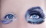 asymmetrical blue eyes makeup macro closeup silver