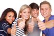 erfolgreiche junge teenager zeigen daumen hoch