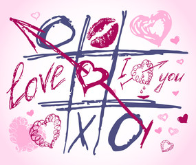 love doodles. Set icon - hand drawn hearts. Tic tac toe