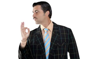 salesman occupation tacky man ok gesture profile