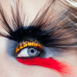 black bird woman eye makeup macro palm tree beach