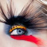 black bird woman eye makeup macro palm tree beach