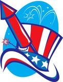 Uncle Sam Hat & Rocket poster