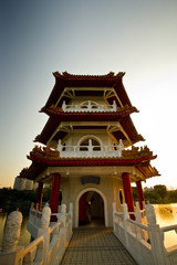 Frontal shot of a chinese pagoda
