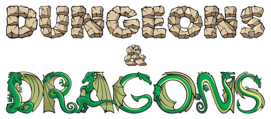 Dungeons and dragons, inscription by hand-made fonts, vector