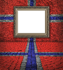 Norwegian flag style. Elegant frame on the red wall with  small