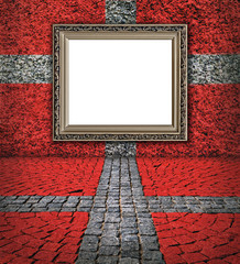 Danish flag style. Elegant frame on the red wall with  small sto