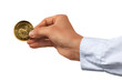 Geldserie: Hand hält Goldmünze