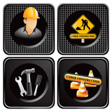 Construction worker, signs, and tools