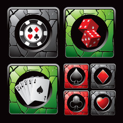 Casino chip, dice, cards, and symbols on cracked web icons