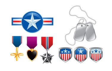 American military icons, medals, and dog tags on white backdrop