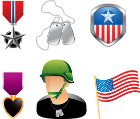 American military medals, dogtags, soldier, and flag