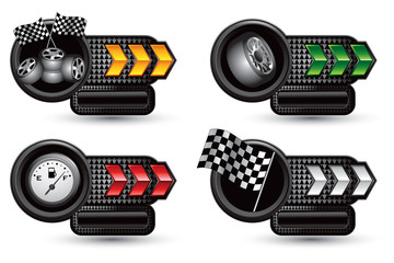 Racing tires, flags, and gas gauge on arrow nameplate banners