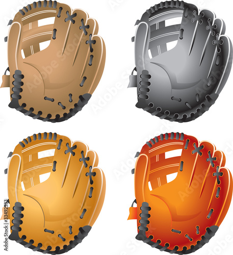 Different color baseball gloves