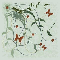 Flores, ramos e borboletas