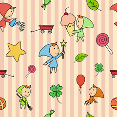 Seamless fairy children pattern