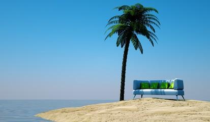 Einsame Insel mit Sofa