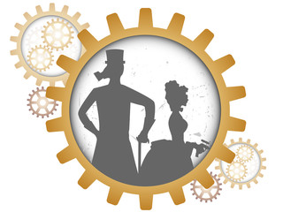Silhouettes of steampunk couple inside shadow gear