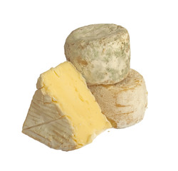Set of french smelly cheeses, isolated