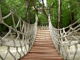 Adventure wooden rope jungle suspension bridge - 33494302