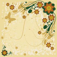 Flores, ornamentos e borboleta