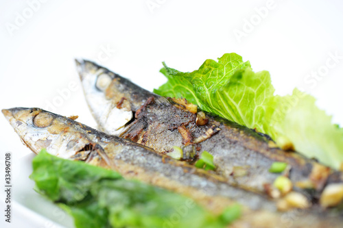 grilled saury on white plate