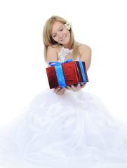 Bride hugging gift box