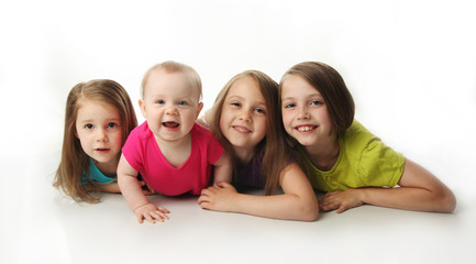 Four adorable young sisters