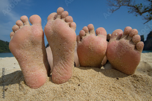 bare foot on the beach