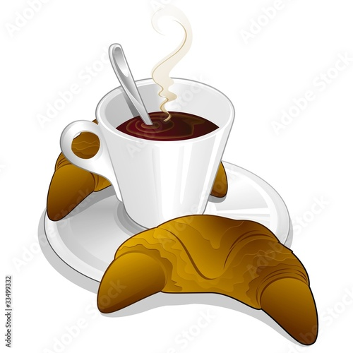 Caffè e Cornetto-Coffee and Brioche- Croissant-Vector
