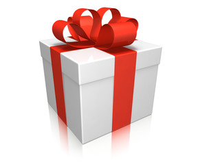 Geschenk mit rotem Schleifenband