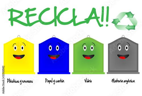 Diferentes contenedores de reciclaje