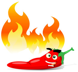 Cartoon Red Hot Chili Pepper