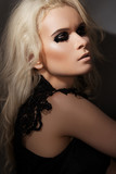 Blond model in lacy black dress, with dark gloss make-up poster
