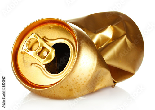 crumpled empty tin can isolated on white