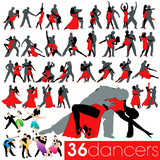 Dancers silhouettes set of 36