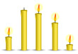 set of yellow candle isolated on white background