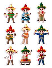 cartoon Mexican music band icon set.
