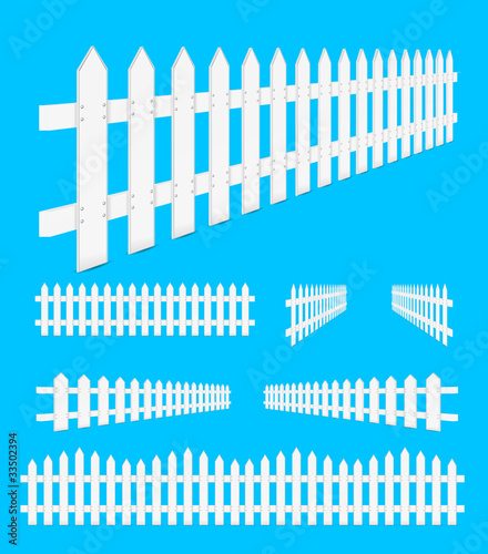 set of perspective white fence isolated on blue