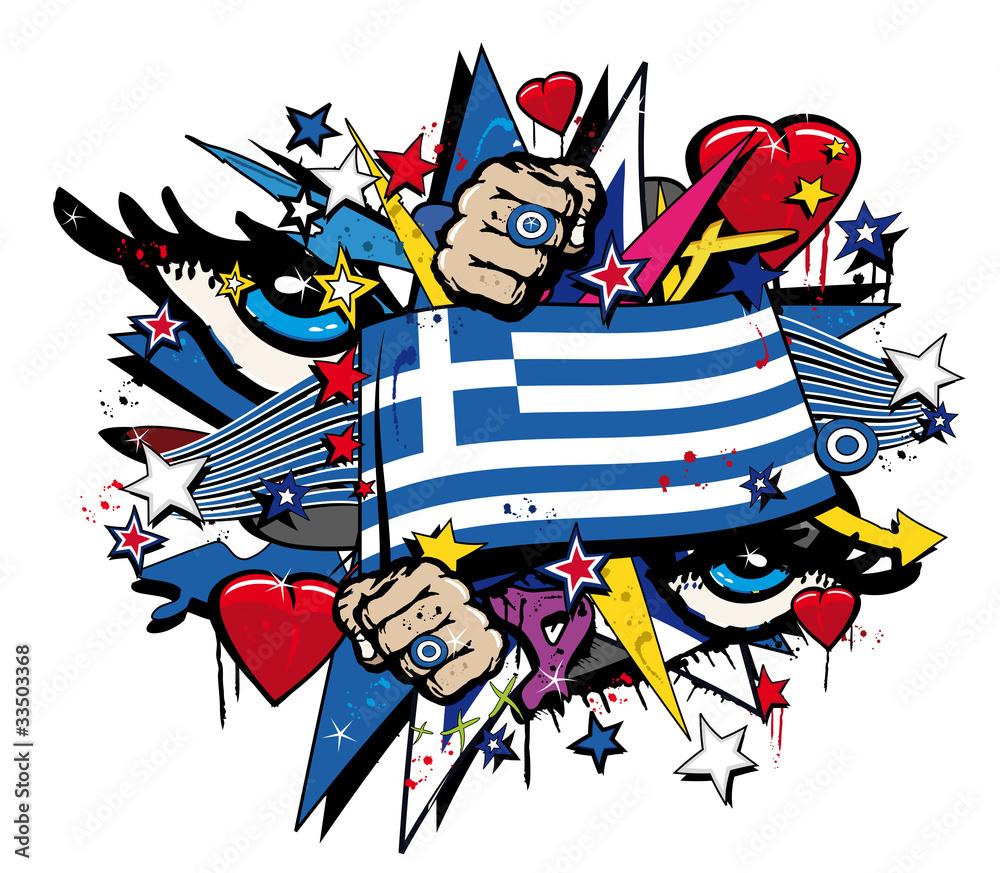 wall stickers greece wall stickers greece greece flag pop art grafiti greek revolt crisis illustration wall sticker