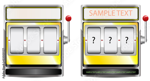 yellow slot machine isolated on white background