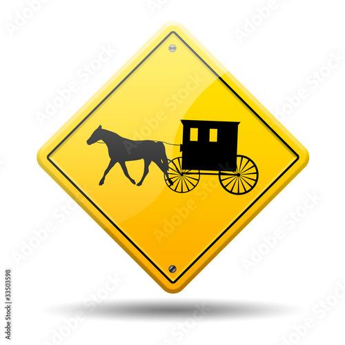 Señal amarilla simbolo carruaje amish