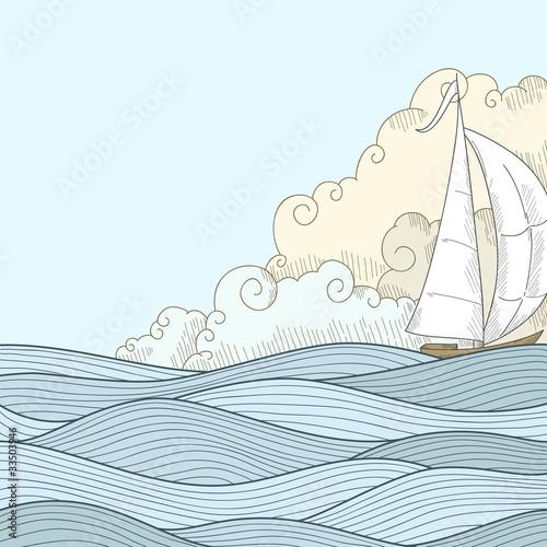Retro hand draw styled sea sailor boat