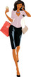 Beautiful woman with bags walking and speaking on the phone