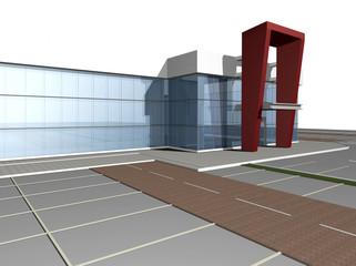 3D rendering of modern building