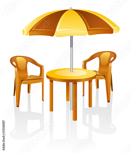 Furniture: table, chair, parasol.